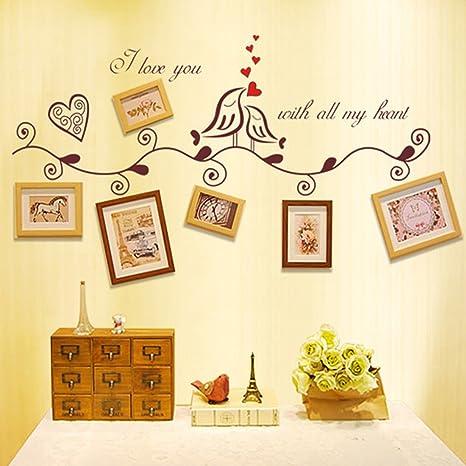 Adhesivo de pared Letras inglesas Hojas de pájaros Marcos de fotos ...