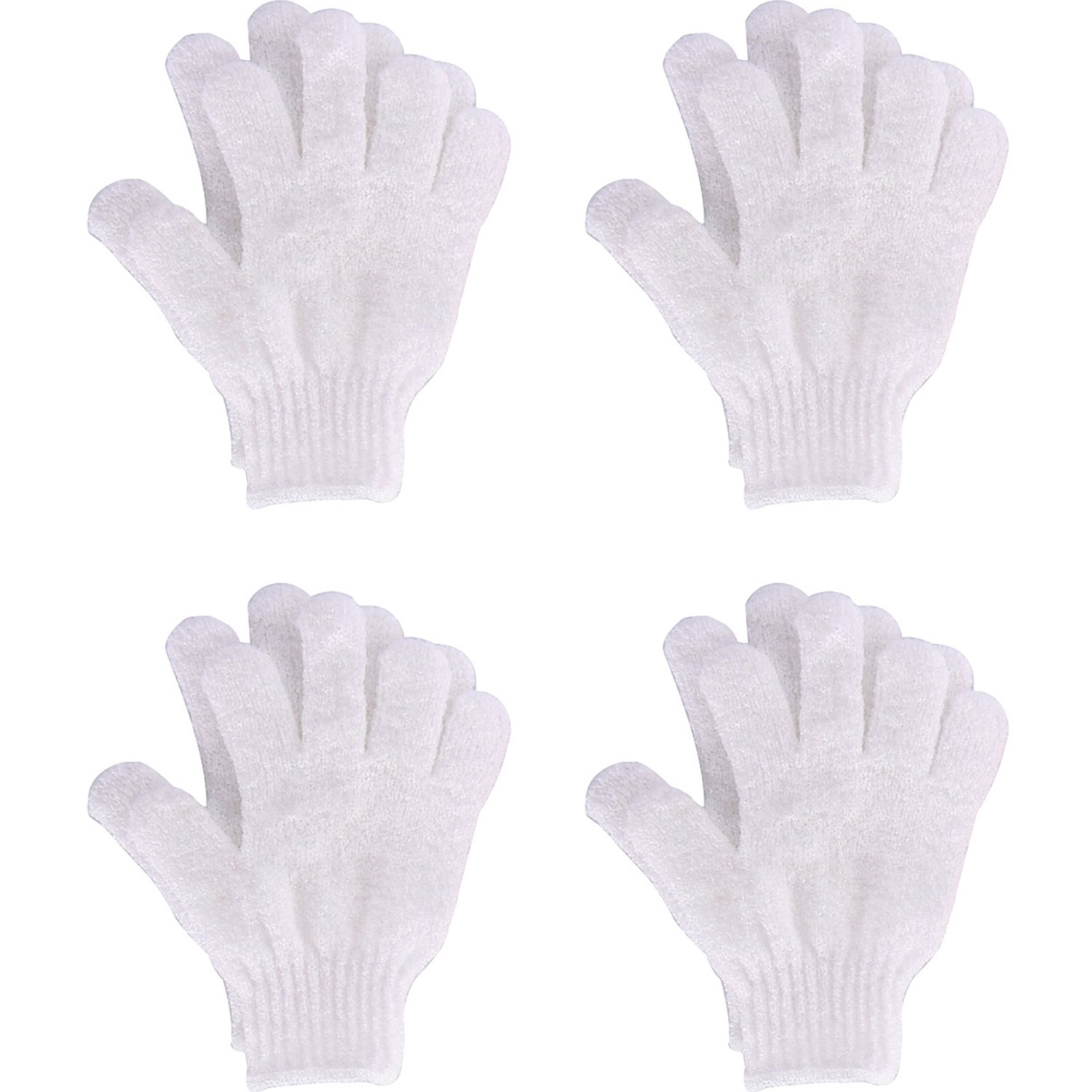 4 Pairs Shower Gloves Scrubbing Gloves Dual-sided Exfoliating Glove Body Bath Scrubs, White Hotop