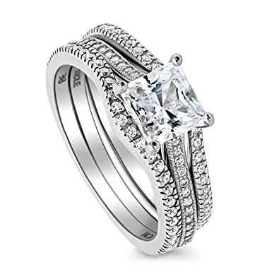BERRICLE Sterling Silver Princess Cut CZ Solitaire Engagement Wedding Ring Set
