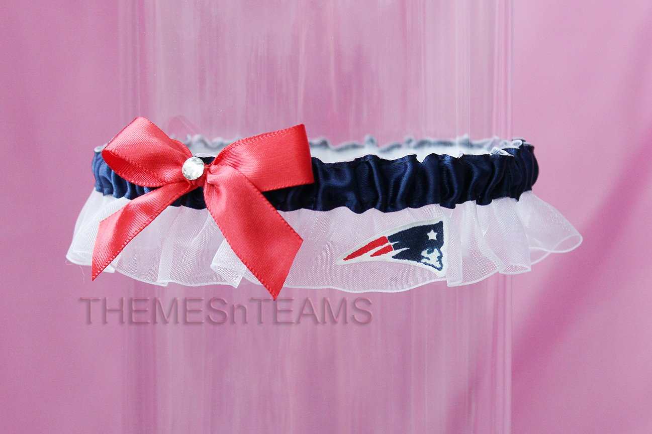 Customizable - New England Patriots fabric handmade into bridal prom organza wedding thin garter TNT