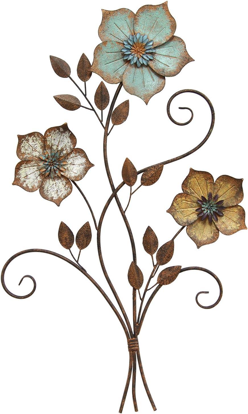 Stratton Home Decor S02369 Tricolor Flower Wall Decor, 19.25 W x 1.50 D x 30.00 H, Multi