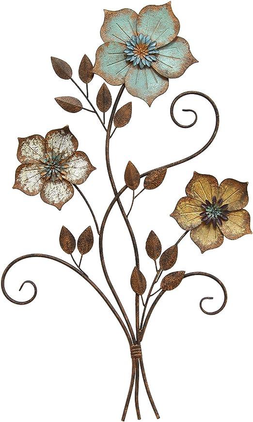 Amazon Com Stratton Home Decor S02369 Tricolor Flower Wall Decor 19 25 W X 1 50 D X 30 00 H Multi Home Kitchen