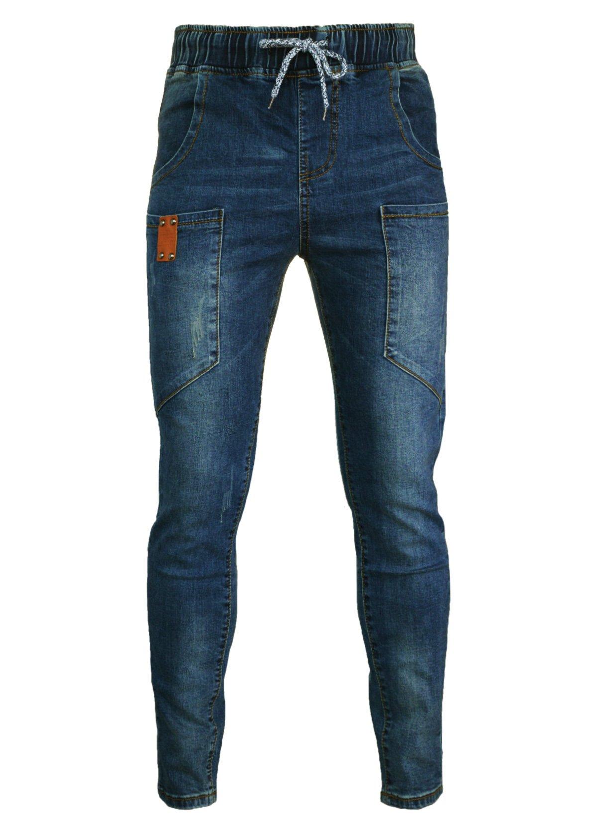 PHOENISING Women's Drawstring & Elastic Band Jeans Fashion Boyfriend Style Pants