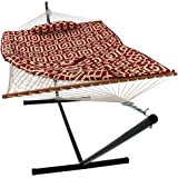 Sunnydaze Cotton Rope Hammock with 12 Foot Portable Steel Stand and Spreader Bar, Indoor or Outdoor Use, Pad and Pillow Included, Royal Red