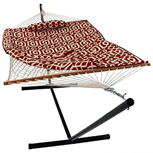 Sunnydaze Cotton Rope Hammock with Portable Steel Stand