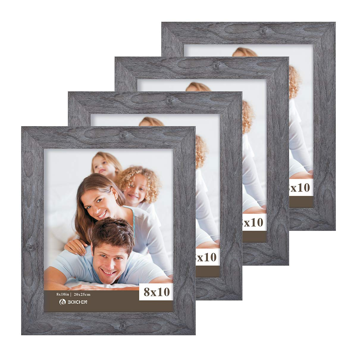 Boichen 8X10 Picture Frames 4 Pack Rustic Style Wood Pattern High Definition Glass for Tabletop Display and Wall mounting Photo Frame
