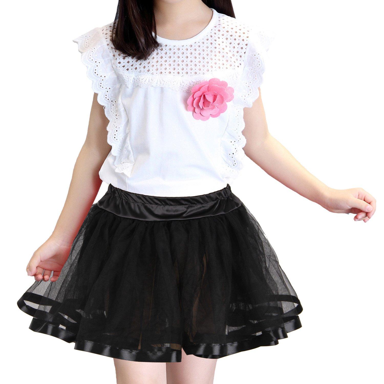Shimaly Girls Ballet Tutu Kids Birthday Princess Party Mini Skirt Underskirt Petticoat (10-14Y, Black)