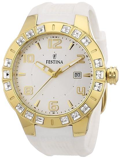 Festina F16582/1 - Reloj analógico de cuarzo para mujer con correa de caucho,