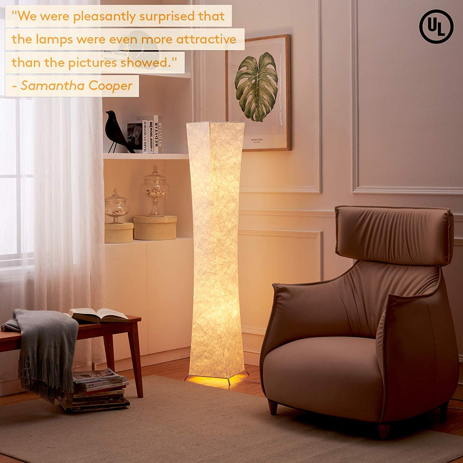 LEONC Design 61'' Creative LED Floor Lamp, Softlighting Minimalist Modern Contemporary with Fabric Shade & 2 Bulbs Floor Lamps for Living Room Bedroom Warm Atmosphere(Tyvek Dupont 10 x 10 x 61 inch) by LEONC Design (Image #2)
