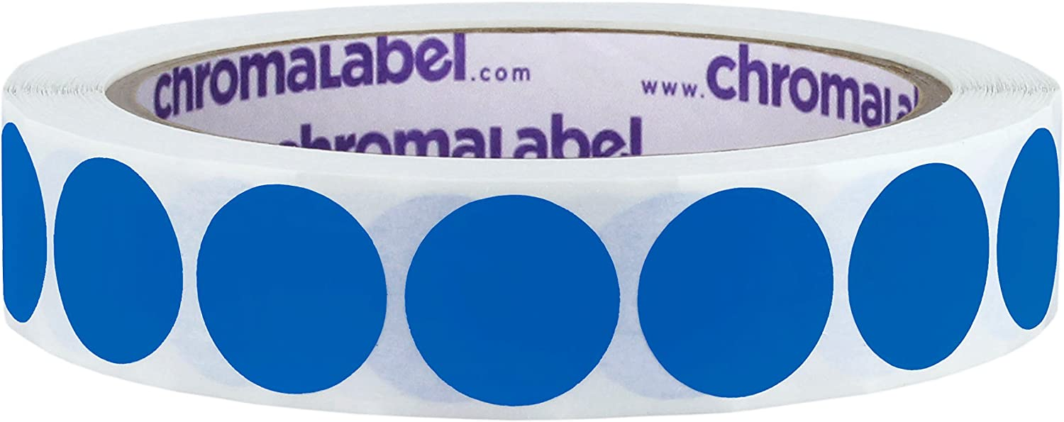 ChromaLabel 3/4 Inch Round Removable Color-Code Dot Stickers, 1000 per Roll, Dark Blue