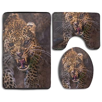 FANGHUABATHRHSQ Funest Leopard Panther Bathroom Accessories Rug Mats DIY  Microfiber Slide Proof Set 3 Piece