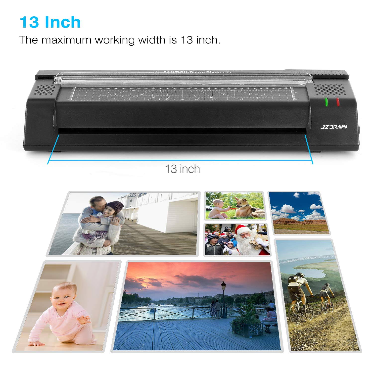 Free Function Fast Speed Thermal Laminating Machine with Trimmer and Corner Rounder for Home Office School Teachers JZBRAIN 13 Laminator Machine for A3 A4 A6 Two Roller Technology with Jam Black