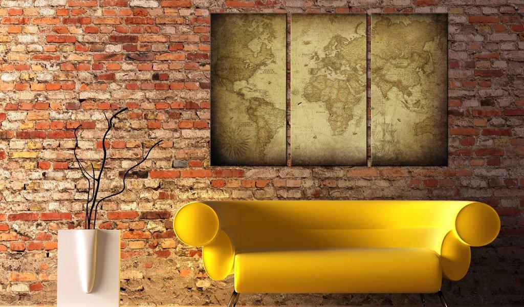 murando - Cuadro en Lienzo 120x80 - Impresión de 3 Piezas Material Tejido no Tejido Impresión Artística Imagen Gráfica Decoracion de Pared Mapa del ...