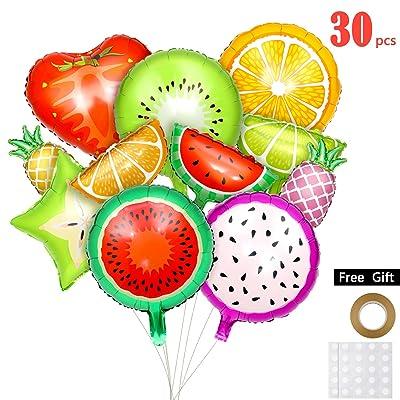 Hsei 30 Piezas de Globos de Papel de Aluminio en Frutas Tropicales para Decoración de Fiesta Temática de Frutas de Cumpleaños, 2 Tamaños: Juguetes y juegos