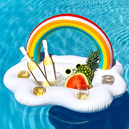 Titular de Bebida Inflable, Nubes Inflables Rainbow Posavasos Ice Bar para Fiesta de Piscina Adultos y Niño: Amazon.es: Juguetes y juegos
