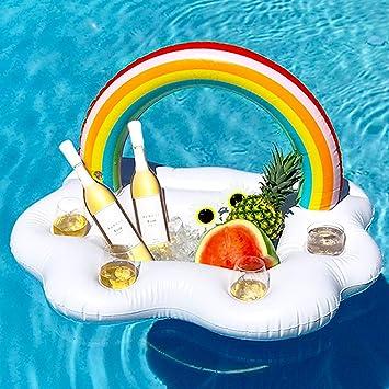 YHmall Titular de Bebida Inflable, Nubes Inflables Rainbow Posavasos Ice Bar para Fiesta de Piscina Adultos y Niño