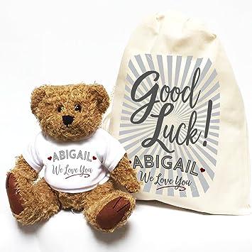 Personalizado buena suerte oso de peluche y bolsa de regalo
