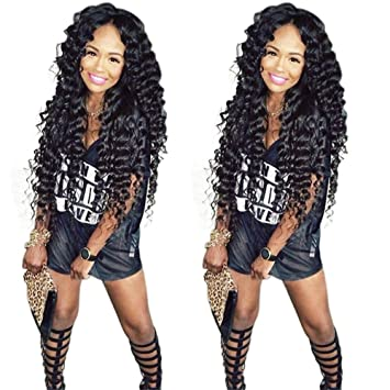 Amazon.com   Remeehi Natural Looking Brazilian Kinky Curly Wigs For Black  Women Best Swiss Lace Net Full Lace Human Hair Wig 22 Inches 1B  Natural  Black   ... 4f80513410