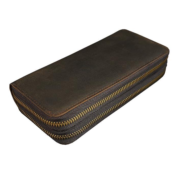 6adce086ca553 Luufan Echtes Leder Doppelreißverschluss Lange Brieftasche Große Kapazität  Leder Clutch Wallets mit Handschlaufe  Amazon.de  Koffer