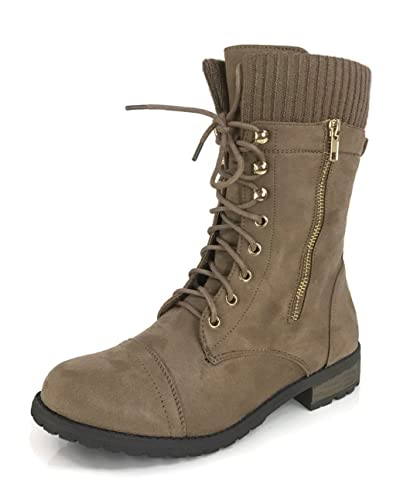 Amazoncom Forever Link Womens Sweater Cuff Combat Boot Lace Up
