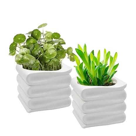 amazon com offidix decorative folded design ceramic plant pot