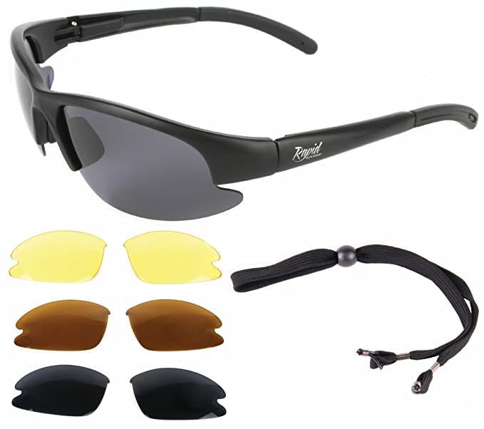 30d4a1bac2a2 Rapid Eyewear Nimbus Black RC Modelglasses  Polarised Sunglasses with  Interchangeable Lenses. Also for Sports   Leisure Use  Amazon.co.uk  Sports    Outdoors