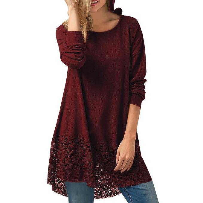 Juleya Mujer Pulóver de encaje Camisa tejida jumper Top corte holgado en color liso Blusa cuello