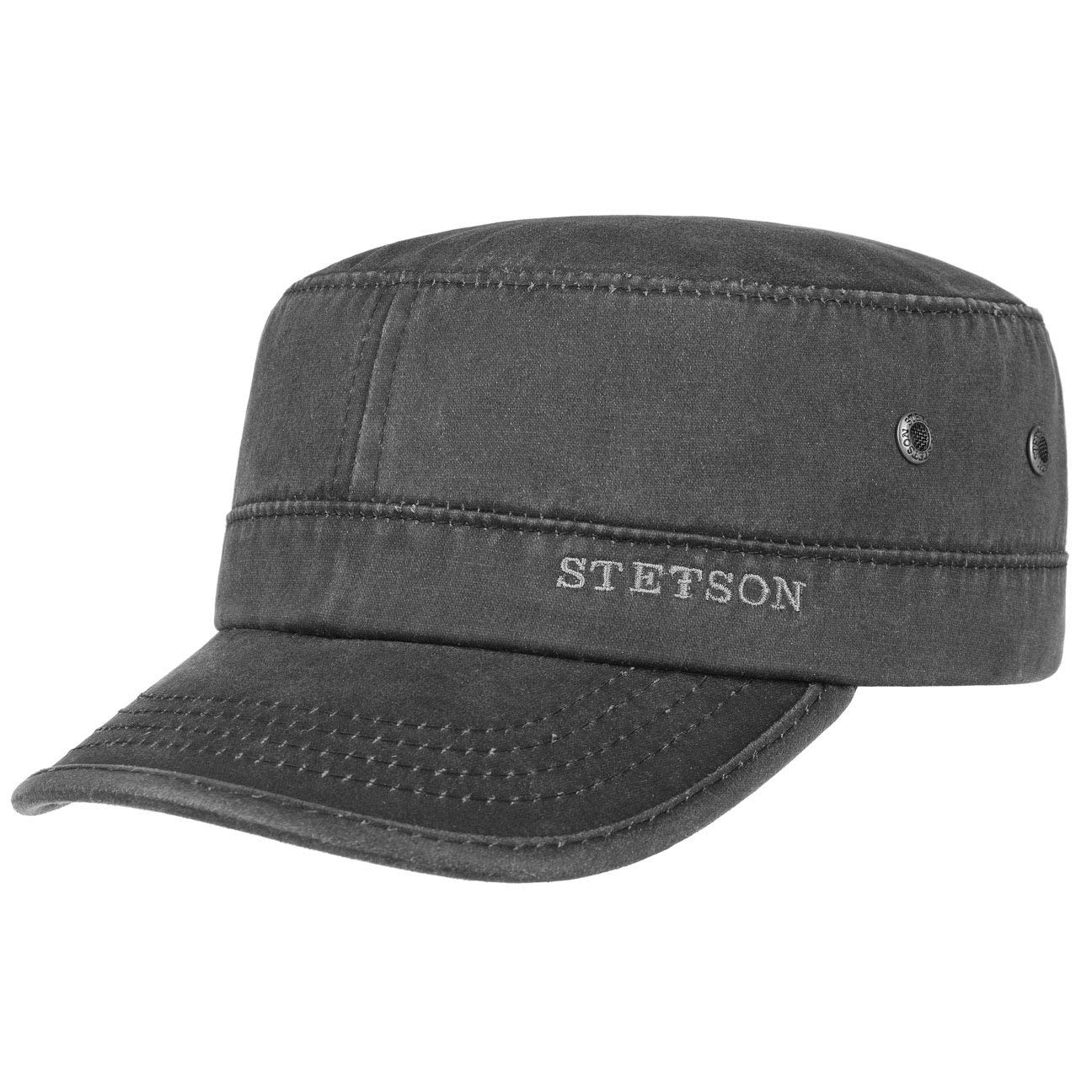 Stetson Datto Men's Army Cap | Water-Repellent Cotton Cap | Summer/Winter | Army Cap with UV 40+ Sun Protection | Washed Leather Look (Oilskin) | Urban Cap