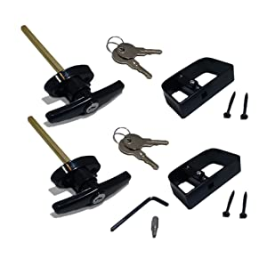 "Keyed Alike Pair of Shed Door T-Handle Locks - 4-1/2"" Stem Length, Includes 2 Handles, 4 Keys, 4 Screws, Square Bit, Allen Wrench, Shed Lock, Barn Door Lock, Playhouse Lock & Chicken Coop Lock (Black)"