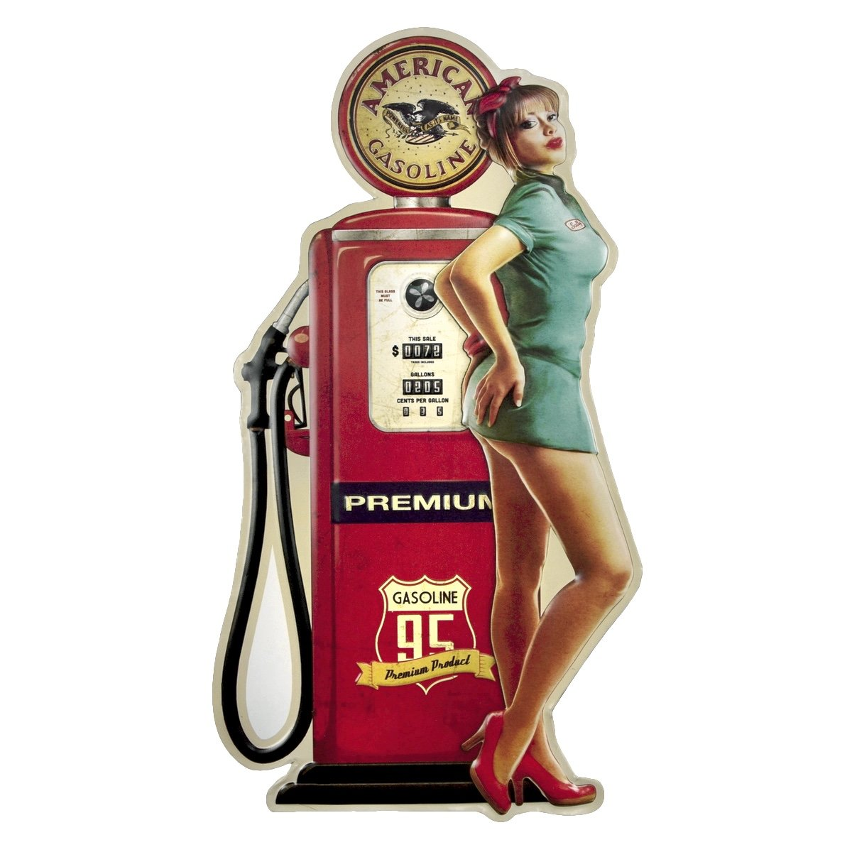 Amazon.com: TG LLC Metal 3D Pinup Girl Vintage Gas Station Pump Tin Sign:  Home & Kitchen