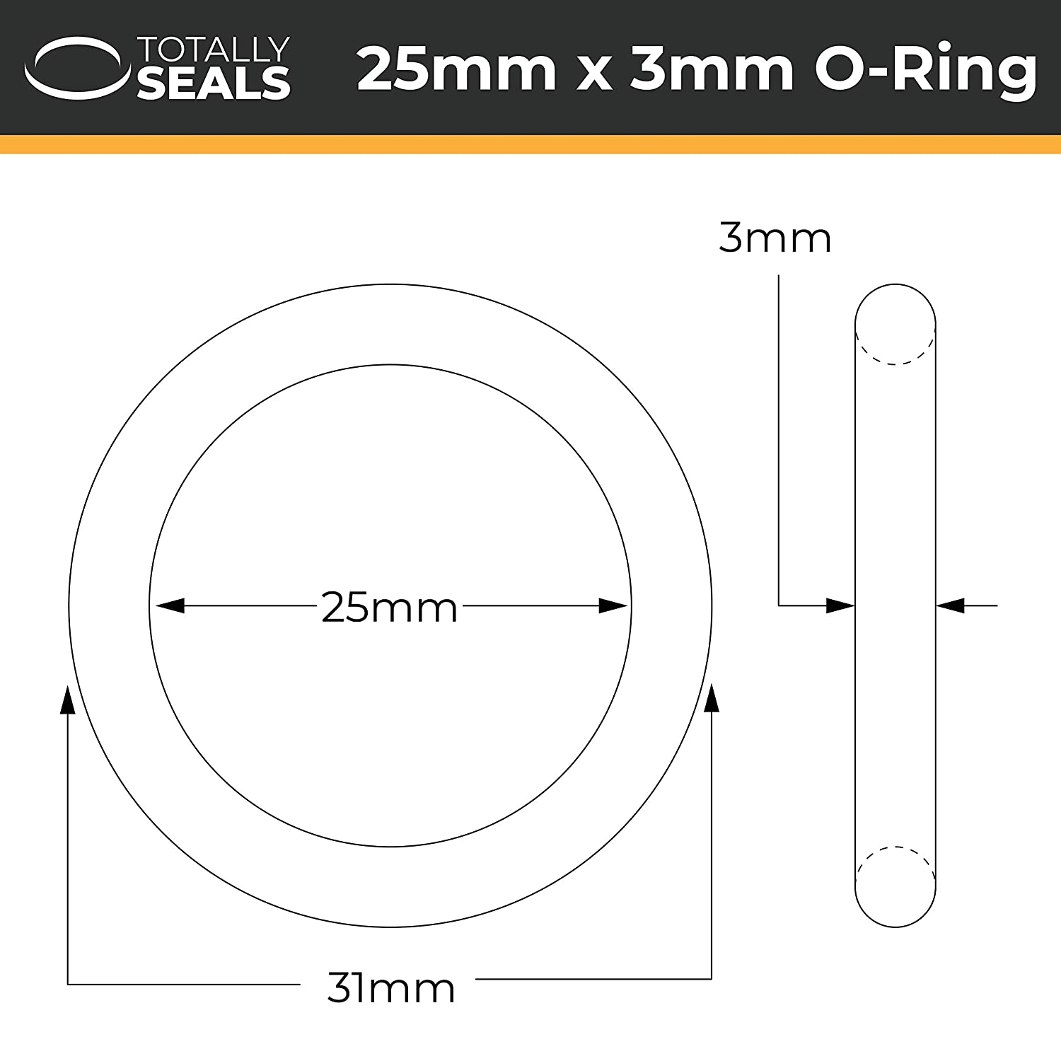 25mm x 3mm 31mm OD Nitrile Rubber O-Rings 70A Shore Hardness Pack of 10