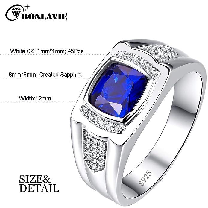 Bonlavie Mens Engagement Ring 925 Sterling Silver Vintage Princess