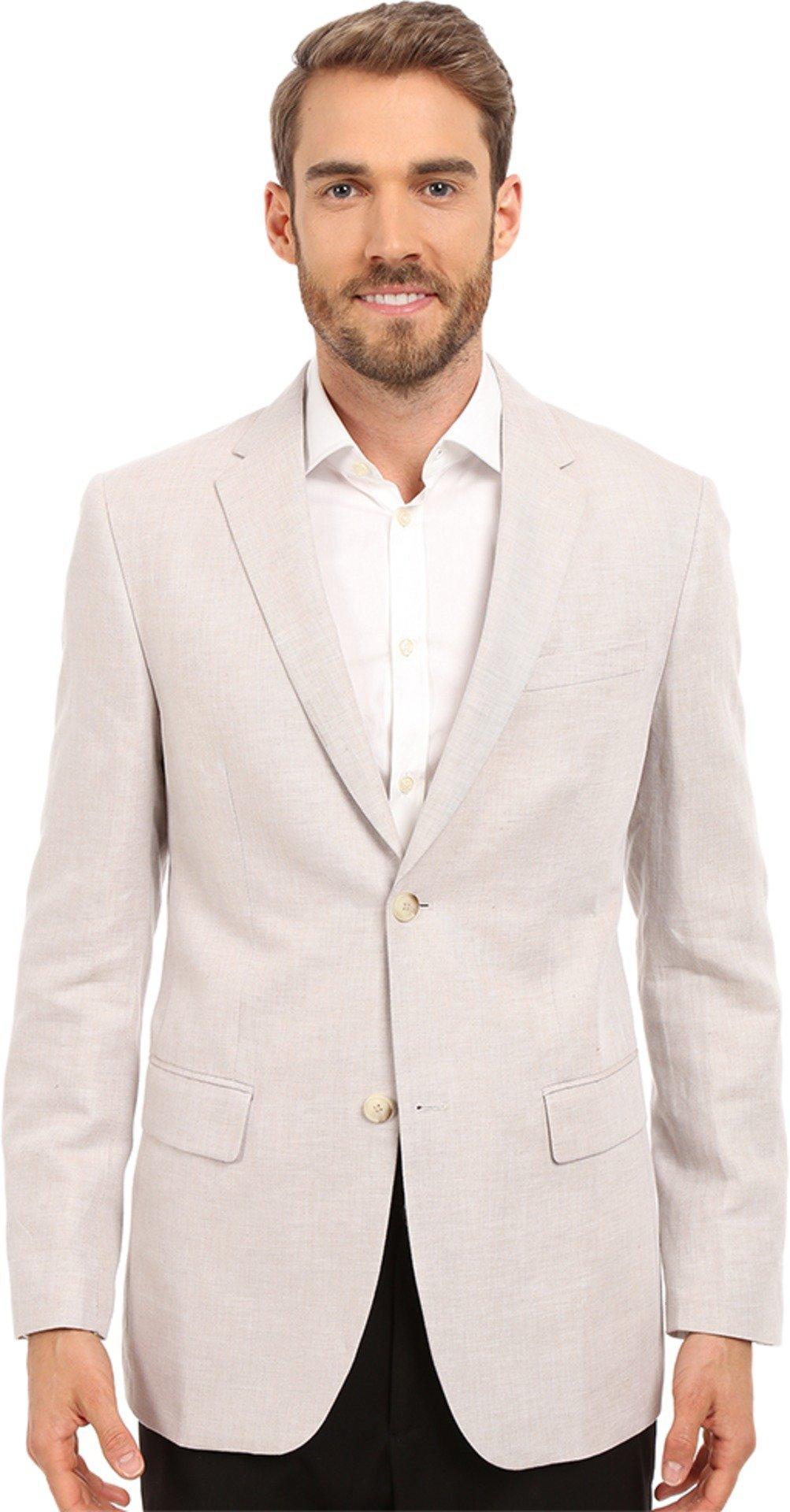 Perry Ellis Men's Linen Suit Jacket Natural Linen Jacket 2XL (46 Regular) by Perry Ellis (Image #1)