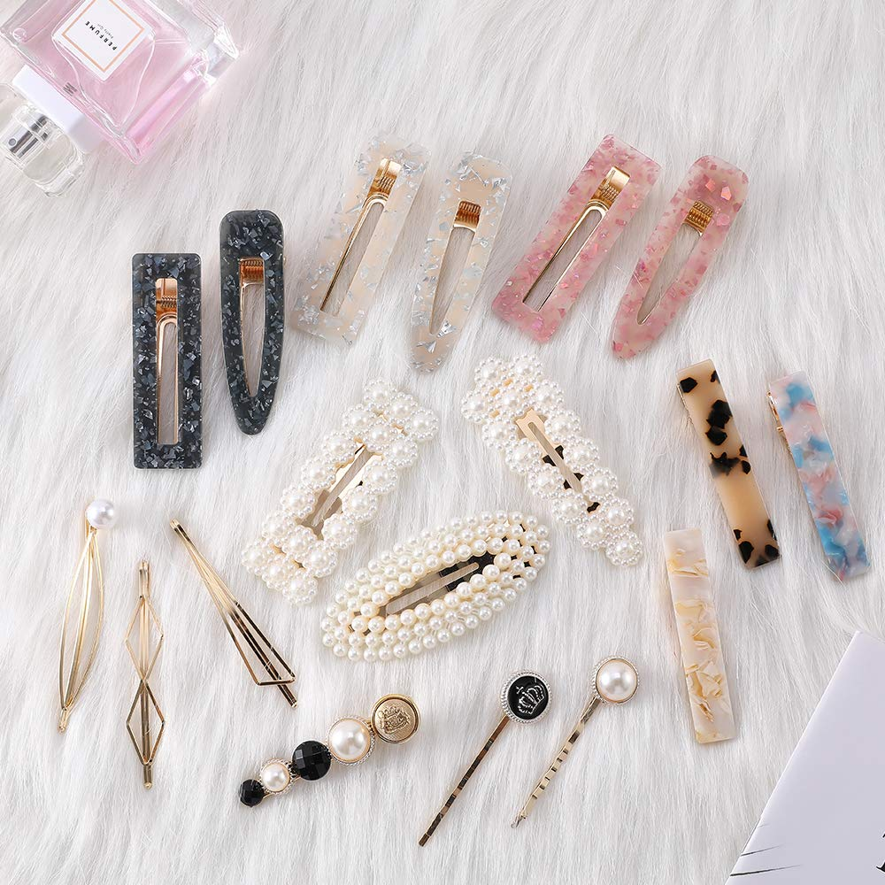 Jabuer 18PCS Fashion Pearl Hair Clips Acrylic Resin Geometric barrettes for Girls and Women, Elegant Handmade Hair Accessories for Different Styles