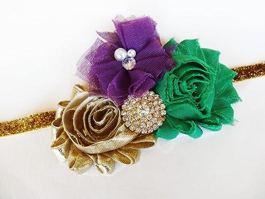 Mardi Gras Hair Piece - Fancy Headband - Gold Green Purple - King Headband - Little Girl Mardi Gras - Mardi Gras Bows - Cute Headband - Baby Mardi Gras