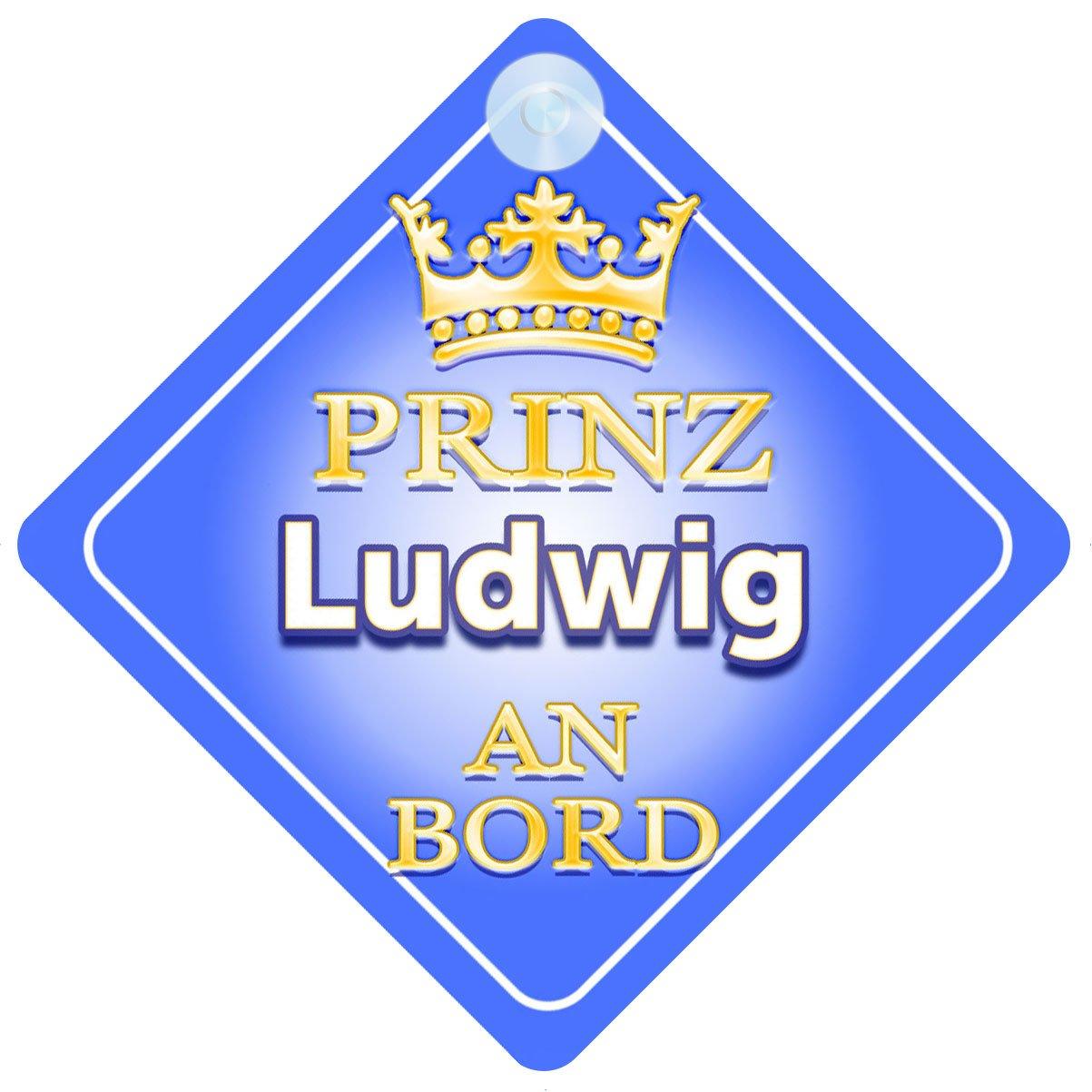 Pr/äsentieren Autoschild /… Prinz Ludwig An Bord mit Krone Personalisierte Autokennzeichen Neues Baby Junge Kind Geschenk Baby on Board