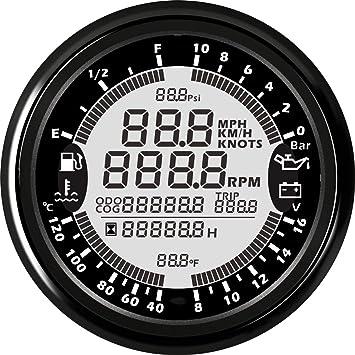 ELING 6/in 1/Multifunktionale Messger/ät GPS Tacho Tachometer Stunde Wasser Temp treibstofff/üllstand /Öl Druck Voltmeter 12/V 85/mm mit Hintergrundbeleuchtung...