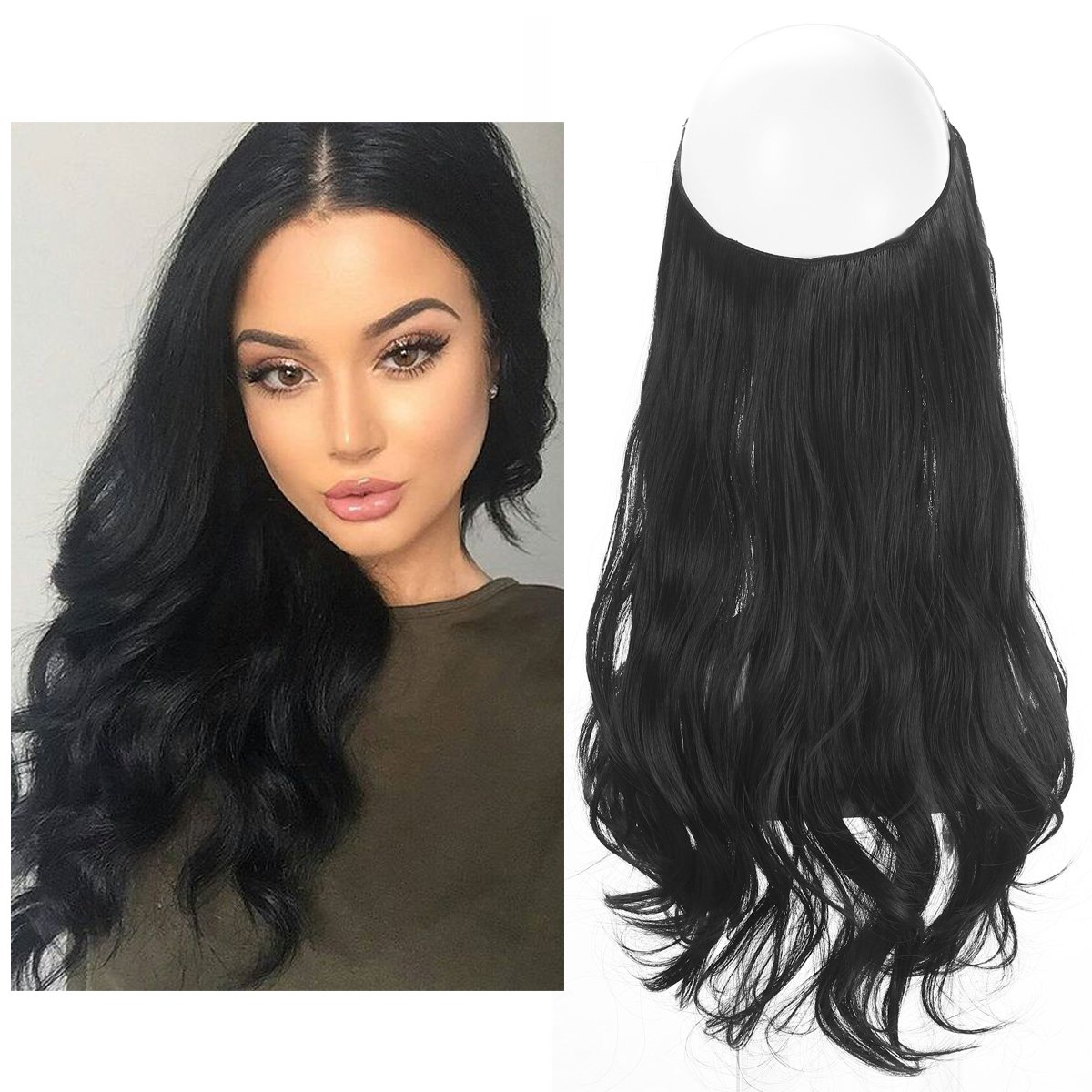 "Black Hair Extension No Clip in Halo Hairpiece Long Secret Natural Wavy Synthetic Hair Pieces For Women Flip Hidden Wire Crown Headband Japan Heat Temperature Fiber SARLA 18"" 4.4oz M01&1B"