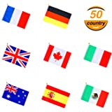 Hestya 50 Countries Stick Flag, International World Flags Hand Held Round Top National Banners on Stick for Festival Events Celebrations, Sports Events