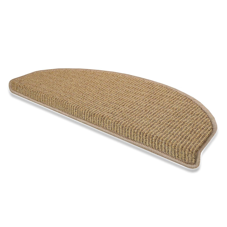 casa pura Berlin Non Slip Stair Carpet Tread Mats | 15 Pieces | 28x65cm | Beige Brown, Multiple Colours Available