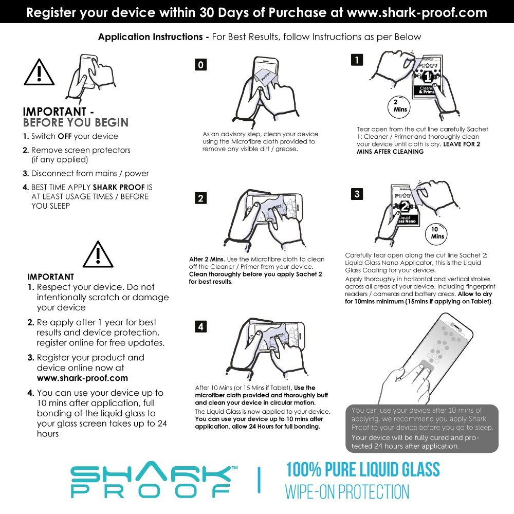 Shark Proof Liquid Glass Screen Protector - Nano Coating Ultra Thin