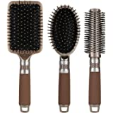 NVTED Hair Brush Set with Detangling Nylon Pins Massage Paddle Brush Cushion Hair Combs Hair Dryer Brush for Women Men Kids G
