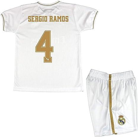Real Madrid Conjunto Camiseta y Pantalón Primera Equipación Infantil Sergio Ramos Producto Oficial Licenciado Temporada 2019-2020 Color Blanco (Blanco, Talla12): Amazon.es: Deportes y aire libre