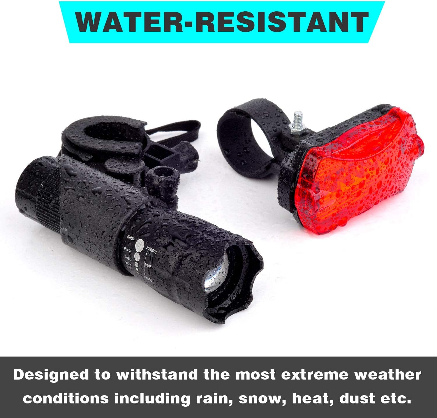Super Bright Safe LED Lights for Bicycle Bike Headlight and Taillight Set Easy to Mount Bike Light Support AAA Batteries with Quick Release System