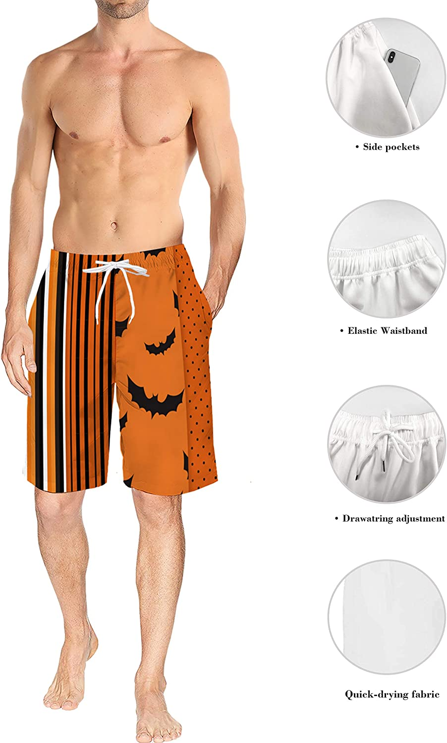 Mens Lightweight Slim Fit Quick Dry Beach Shorts Cute Ghost Expression Halloween Element Surf Beach Pants with Mesh Lining