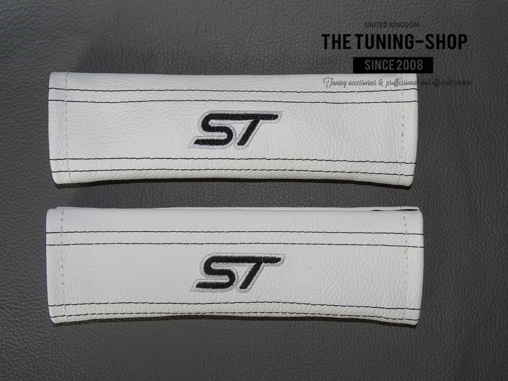2 x Seat Belt Covers Pads White Leather ST' Black Embroidery The Tuning-Shop Ltd