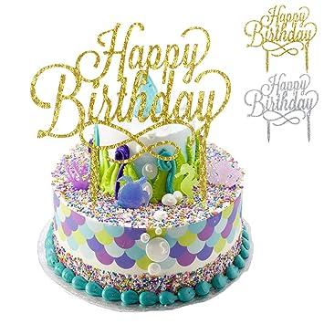 Natuce 2 Pcs Happy Birthday Cake Topper Decoration De Gateau Pour Anniversaire Party Acrylique Diy Cupcake Paillettes Gateaux Topper Pour Fete Or