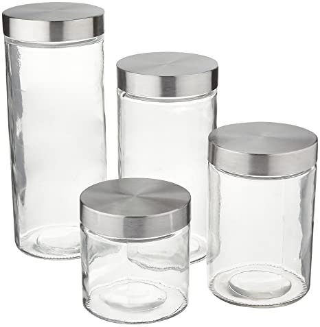 Amazoncom Anchor Hocking Callista 4 Piece Glass Canister Set With