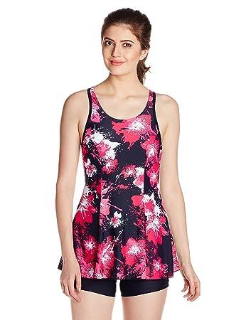 e87673cfff Speedo Women's All Over Print Racerback Swim Skirt with Boyleg Bodysuit  Size 44 (Navy/
