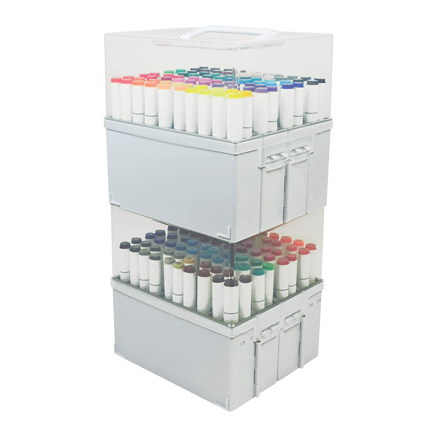 Deflecto Expandable Marker Accordion White Base Stores up to 80 Markers Clear lid,